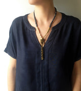 Long Stone and Bronze Chain Necklace