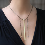 Simple Necklace - Minimalist Necklace with Brass Strip - MERCe