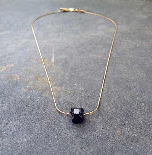 Solo Necklace - Black Tourmaline Necklace - MERCe