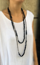 Trazo - Long Crocheted Leather Necklace - MERCe
