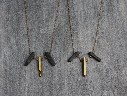 Trio Necklace - Short Quartz Stick Necklace - MERCe