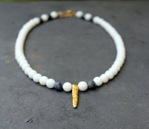 Unno White Necklace - White Stone Necklace, White Coral Necklace - MERCe