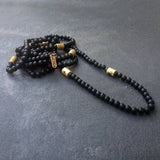 4 Strand Onyx Necklace, Black Long Necklace