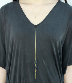 Cometa Long Necklace - Onyx, Pyrite and Lava Lariat Necklace - MERCe