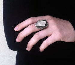 Big Sterling Silver Faceted Stone Ring