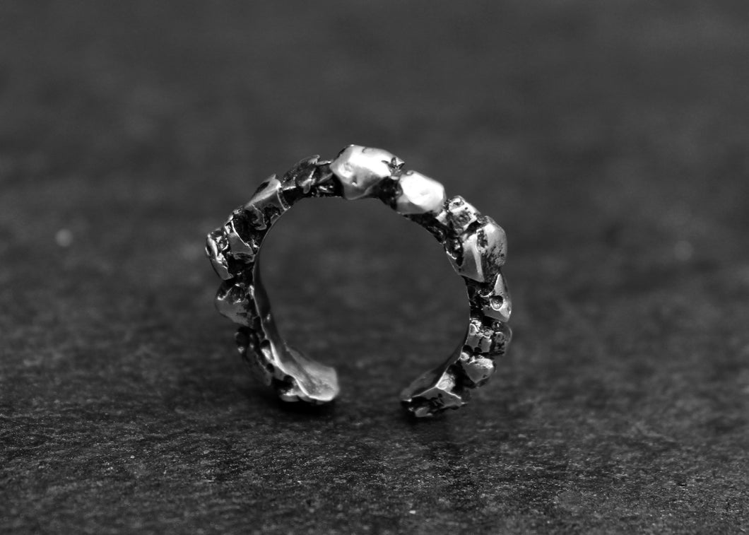 Crown Ring - Oxidized Silver Nugget Ring - MERCe