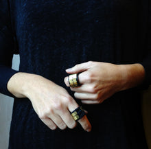 Load image into Gallery viewer, Handmade Leather and Bronze Ring - MERCe