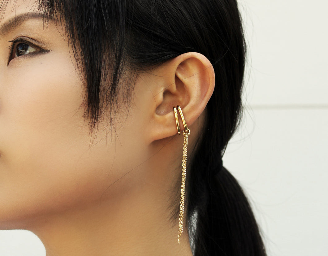 Topa Plus Earrings - Non piercing earrings with chains - MERCe