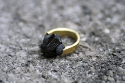 Raw Tourmaline, Lava and Brass Ring - MERCe