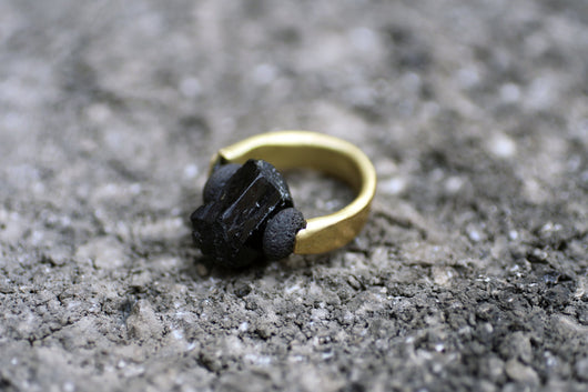 Karat Tourmaline Ring - Raw Tourmaline, Lava and Brass Ring - MERCe