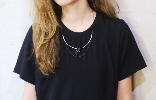 Raw Black Tourmaline and Silver Chain Necklace - MERCe