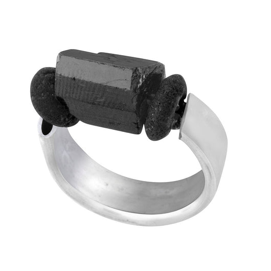Sterling Silver and Black Tourmaline Ring - MERCe