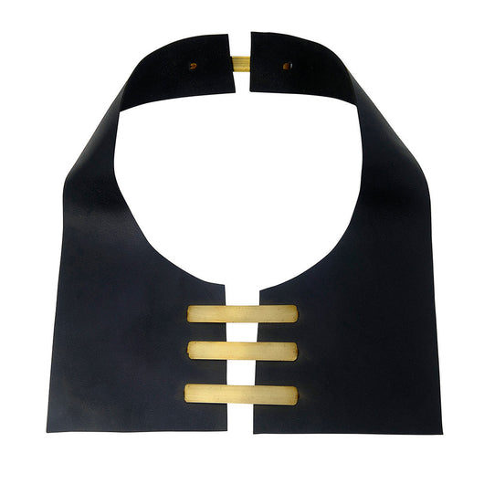 Black Leather Bib Necklace and Brass - MERCe