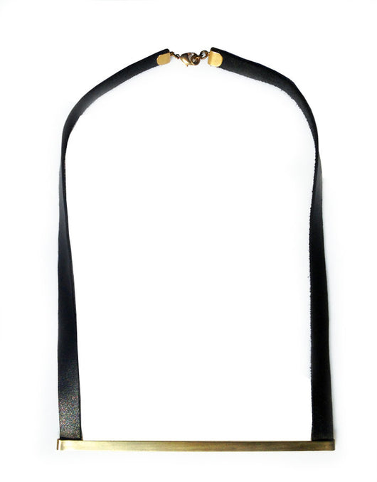 Minimalist Strip Short Leather Necklace - MERCe