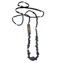 Load image into Gallery viewer, Negro Necklace - Long Black Leather and Stones Necklace - MERCe