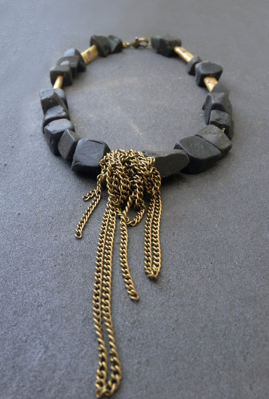 Kadi Onyx Necklace - Onyx Necklace with Chains - MERCe