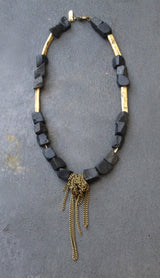 Onyx Necklace with Chains - MERCe