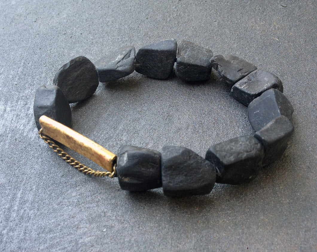Kadi Bracelet - Big Onyx Stone Bracelet with Bronze - MERCe