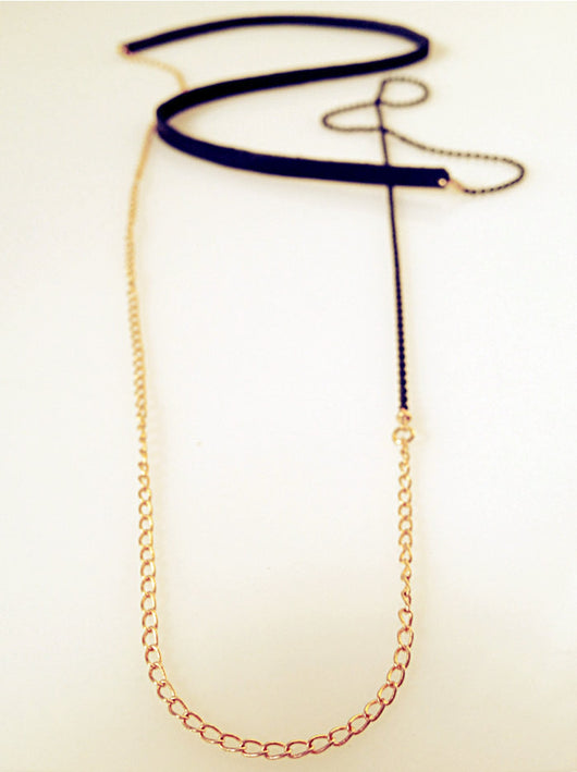 Long Gold and Leather Women Necklace - MERCe