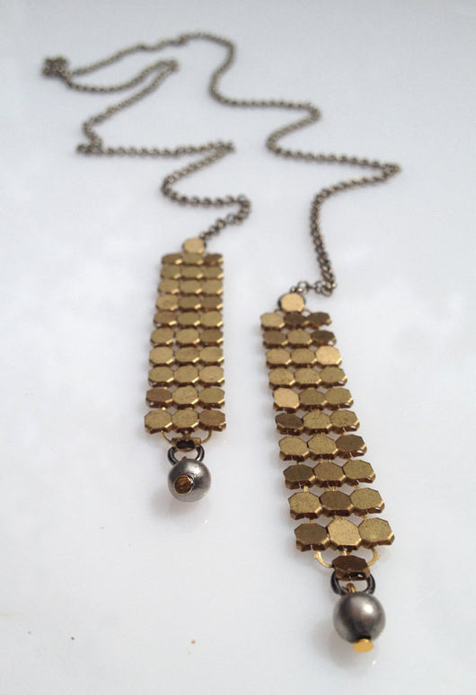 Open Necklace - Open Statement Necklace with Brass Chainmail - MERCe