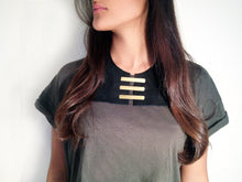 Load image into Gallery viewer, Black Leather Bib Necklace and Brass - MERCe
