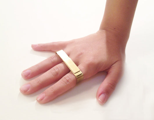 3 Finger Brass Strip Ring - MERCe