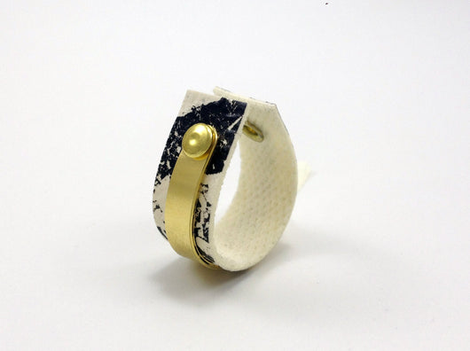 Adjustable Gold Filled Ring with Handmade Printed Textile - MERCe