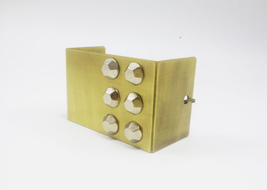 Square Metal Cuff Bracelet with Studs - MERCe