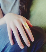 Wide Gold Ring with Stud - MERCe