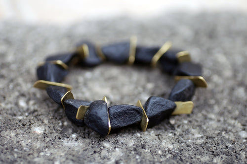Edge Onyx Bracelet - Raw Black Onyx Bracelet - MERCe