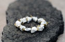 Edge Howlite Bracelet - Raw Howlite Gemstone Bracelet - MERCe