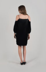 ZARI OFF THE SHOULDER BUTTON FRONT DRESS