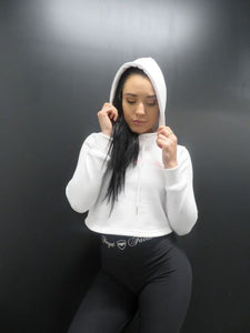 White Cropped Hoody
