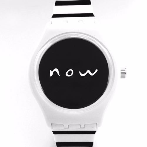 Black and white stripped watch with