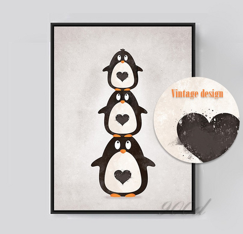 Cartoon Penguin Canvas Art Print Painting Poster, Wall Picture for Home Decoration, Wall Decor