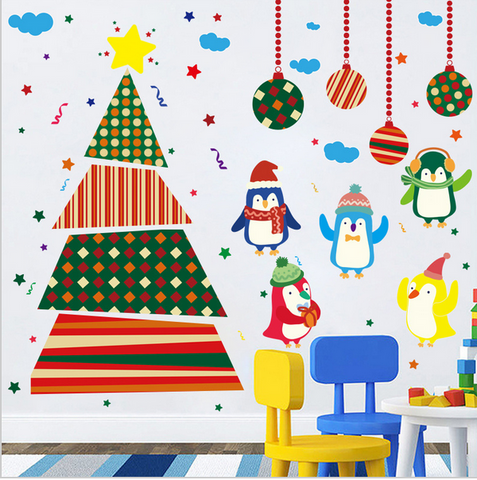 new cute Christmas penguins cartoon wall stickers for kindergarten to decorate children room Christmas tree wall stickers