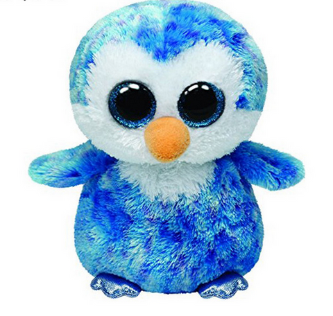 Original Ty Beanie Boos Big Eyes Plush Toy Doll Blue Penguin TY Baby Kids Gift 10-15 cm
