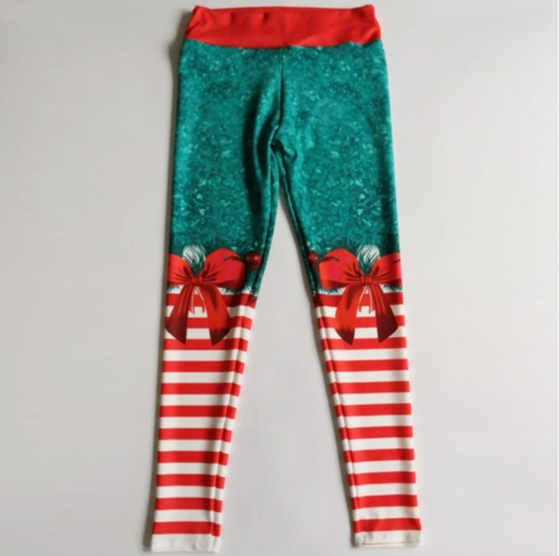 Christmas Elf Leggings - Be Yoga Fitness Ready with a hint of Candy Cane