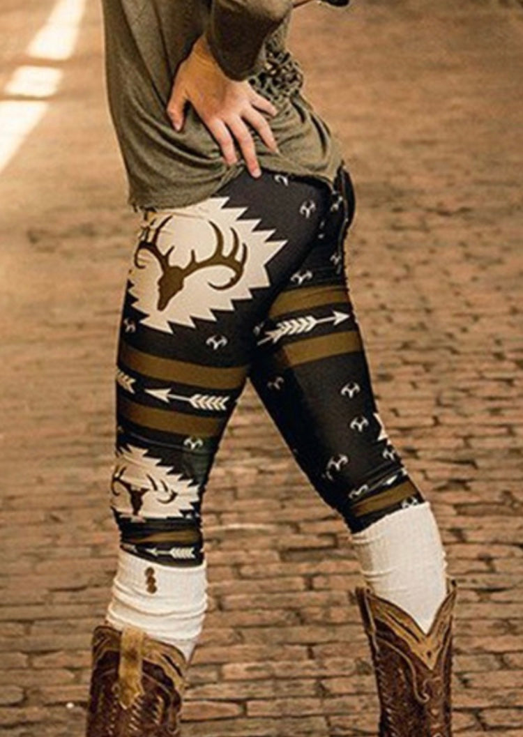 Fall Leggings with Deer print pattern , fashion , printing, autumn , winter , woman , christmas , back to school , top fashion