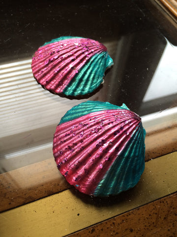 Fancy Pink and Turquoise Green w/Glitter Seashell Mermaid Pasties - HottestTrendsPrint
