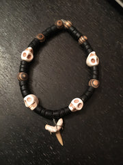 Unique skull and shark tooth bracelet