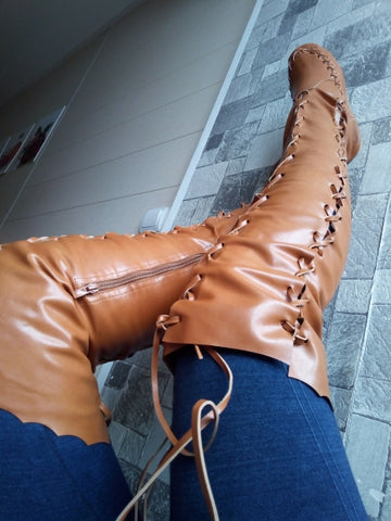 Fairy Boots - Gypsy - Renaissance - Knee High - Flat - Leather - Laced - FREE SHIPPING!