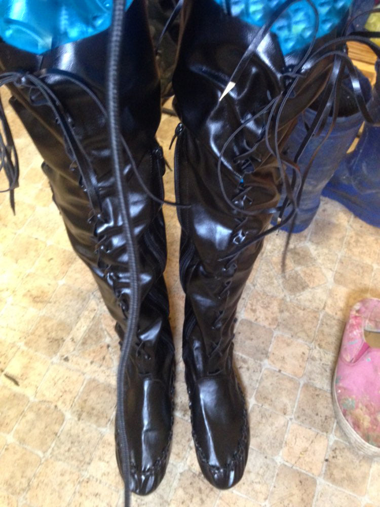 Fairy Boots - Gypsy - Renaissance - Knee High - Flat - Leather - Laced - FREE SHIPPING! - HottestTrendsPrint
