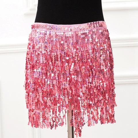 Eye-catching Pink Two Piece Chain Bra with Sequins Tassel Mini Skirt - Festival Outfits