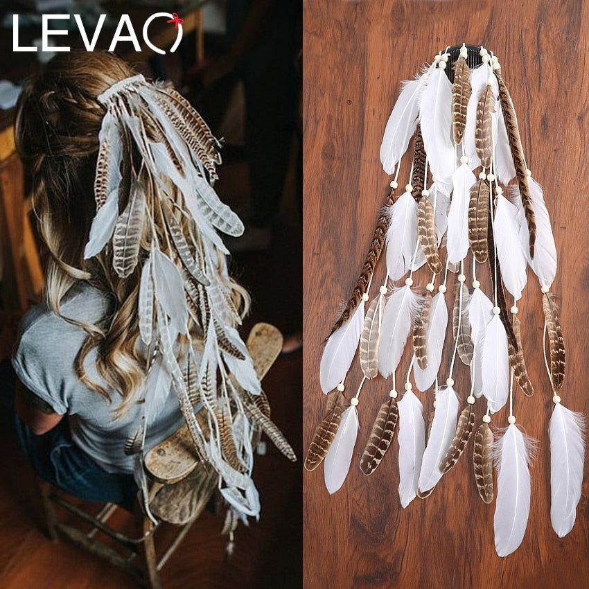 Indian Festival Tassel Feather Hair Combs