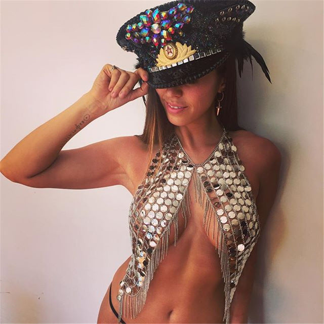 Sexy Chain Coin Bra - Bellydance, Burningman , Sequin, Bohemian