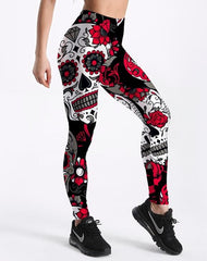 Women's Skull & Flower Black Leggings Great for Halloween and MardiGras. Fitness in style