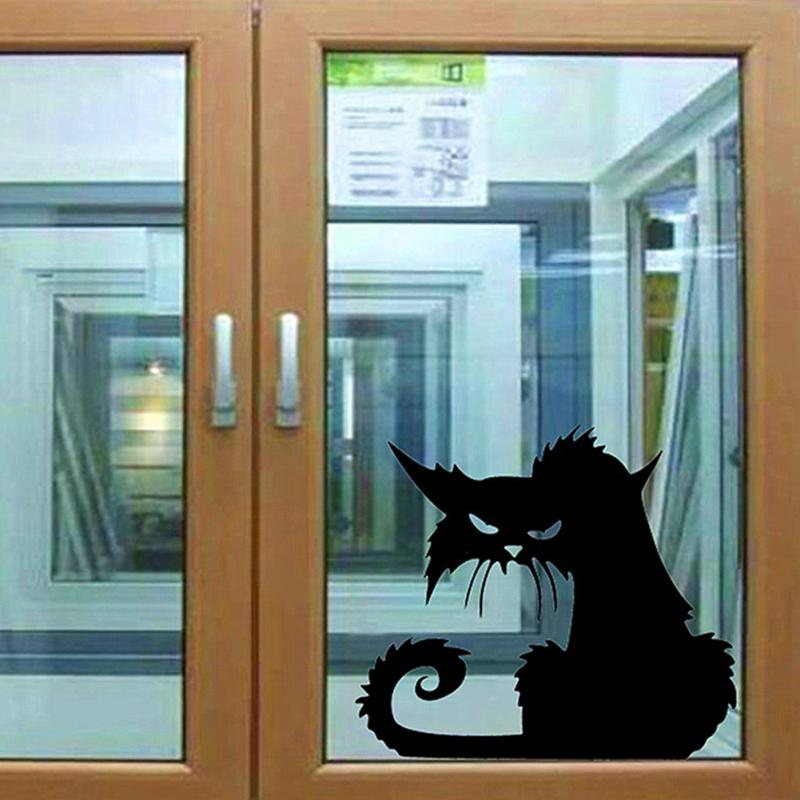 Halloween Black Cat Wall Stickers Decor Decals