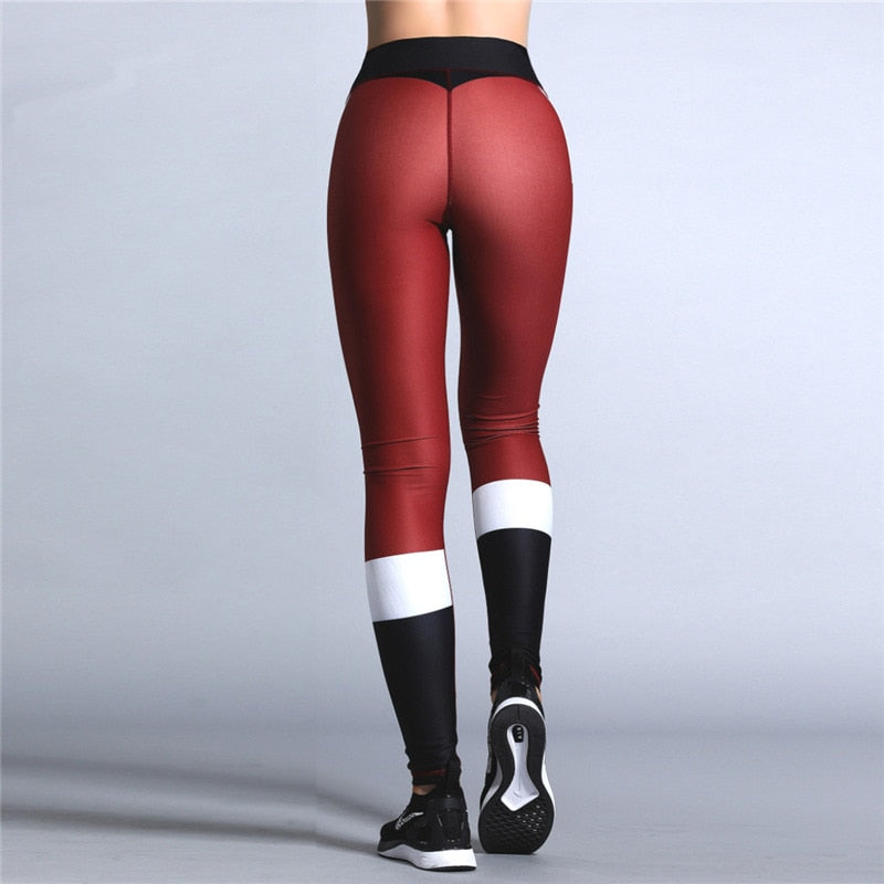 Santa Leggings - Christmas Women's High Waist Leggings Christmas Printing Sports Pants Yoga Legging