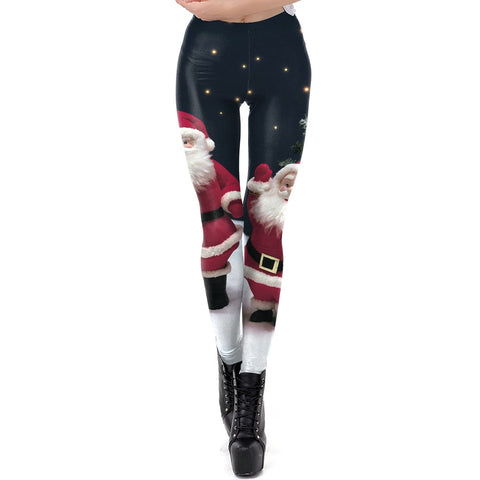 Santa Claus Christmas Leggings W/ Stars - Fitness, comfy, pants